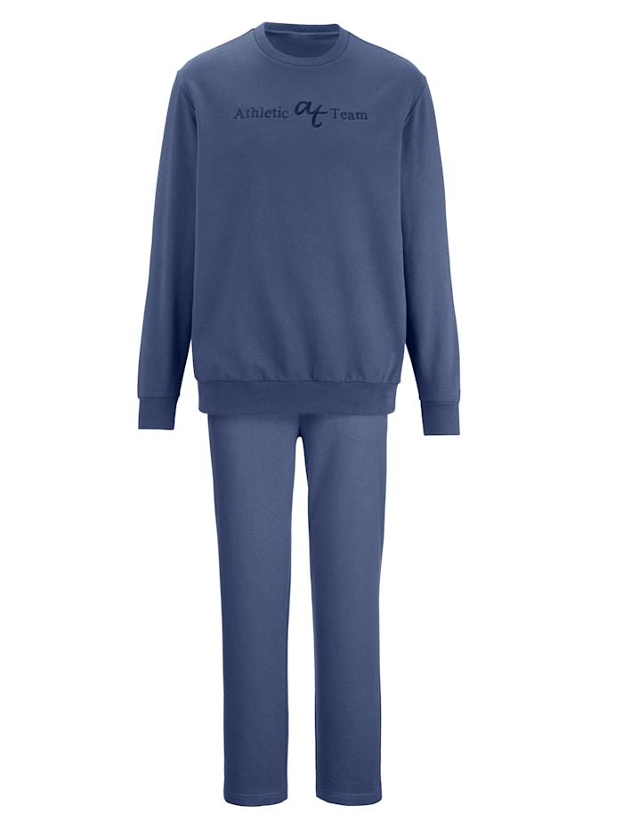 G Gregory Joggingpak met geborduurd opschrift, jeansblauw