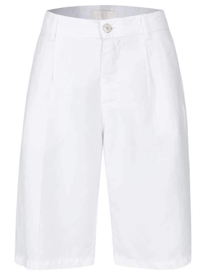 Angels Hose ,Bermuda Pleat' mit Leinen, off white