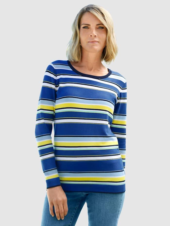 Paola Pullover mit farbenfrohen Streifen, Marineblau/Gelb/Weiß