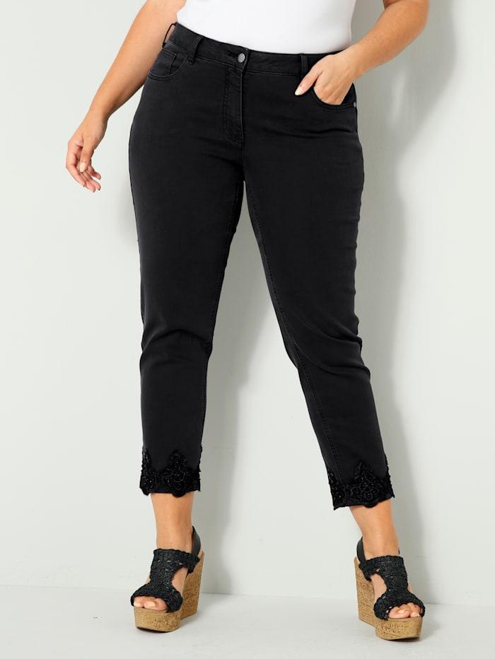 Sara Lindholm Jeans met kraaltjes, Black stone