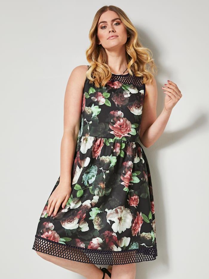 Sara Lindholm Robe à motif floral, Noir/Vert