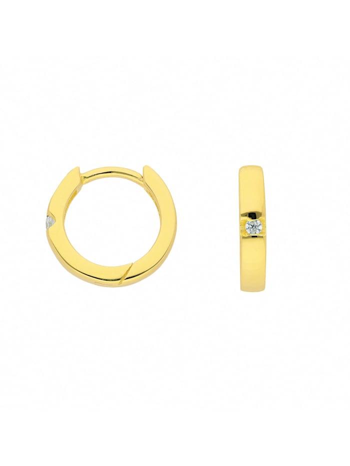 1001 Diamonds Damen Silberschmuck 925 Silber Ohrringe / Creolen mit Zirkonia Ø 12 mm, vergoldet