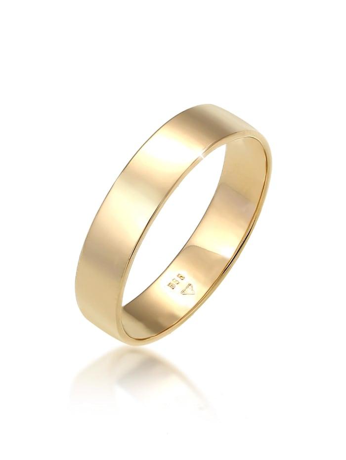 Elli Premium Ring Bandring Trauring Basic Hochzeit Paar 585 Gelbgold, Gold