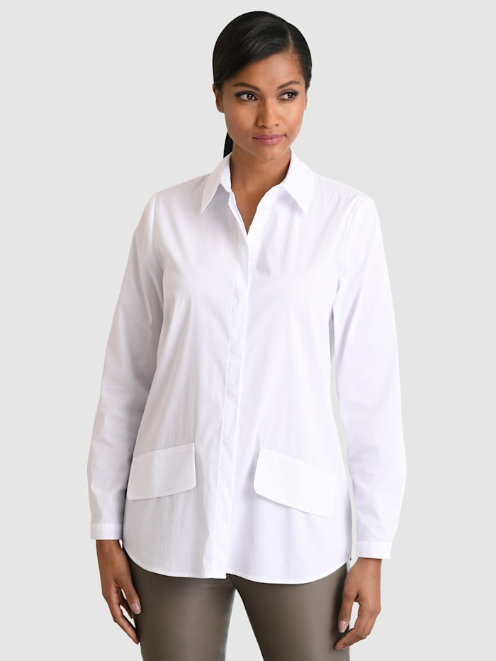 Alba Moda Chemisier avec poches plaquées devant, Blanc