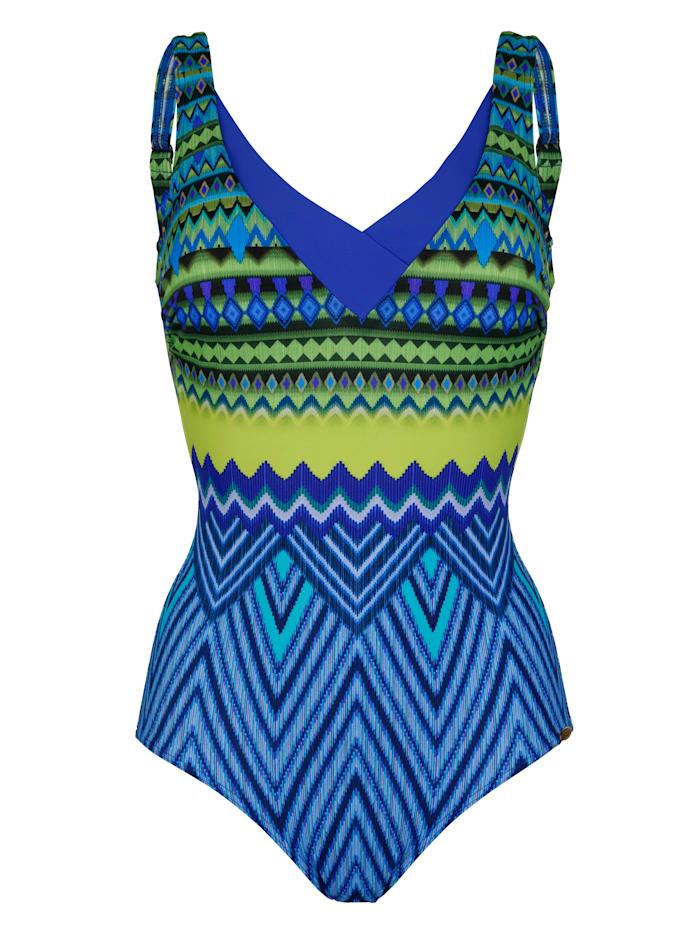 Sunflair Badeanzug mit formender Halbcorsage, Blau/Grün