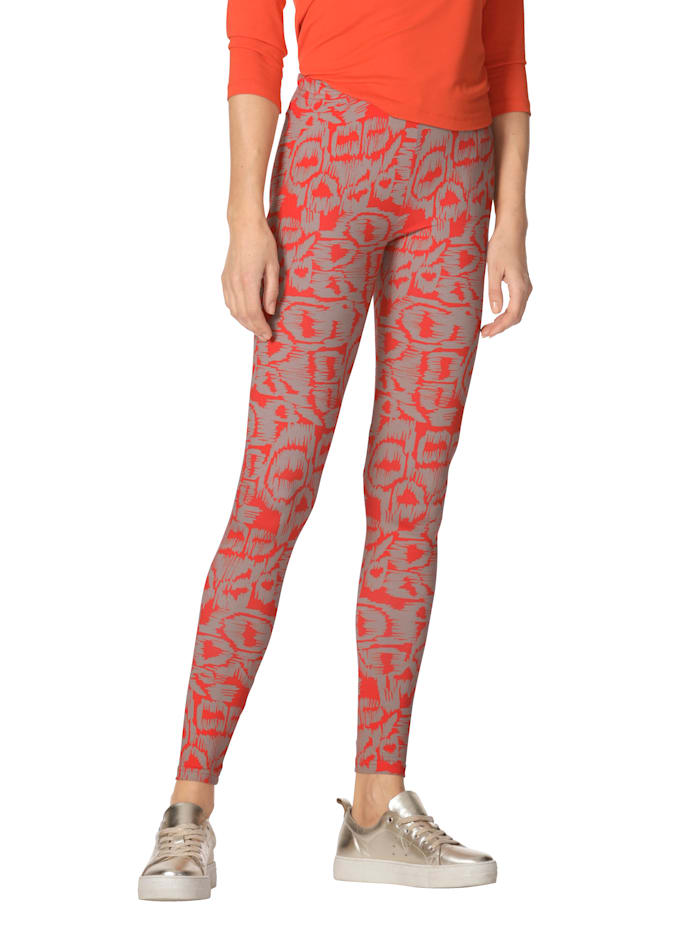 AMY VERMONT Legging met print rondom, Oranje/Beige