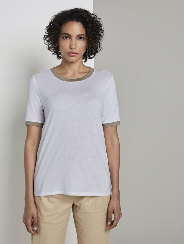Tom Tailor mine to five T-Shirt mit Kontrast-Blende, Ceramic White