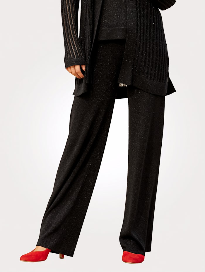 MONA Knitted trousers in a pull-on style, Black