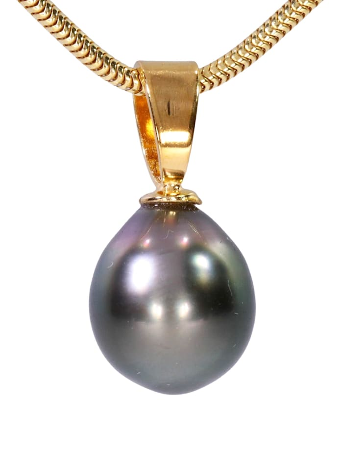 1001 Diamonds Perle Anhänger 925 Silber, grau