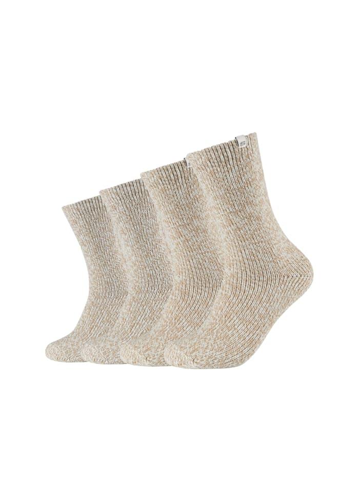 Skechers Kuschel-Socken 4er Pack mit elastischem Bündchen, offwhite mouline