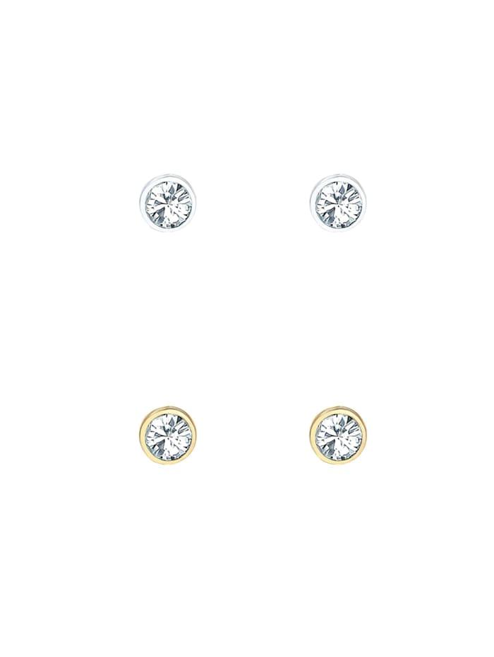 Ohrringe 2Er Set Basic Kristalle 925 Silber