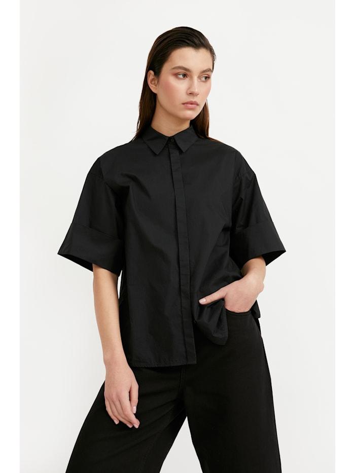 Finn Flare Bluse mit klassischem Hemdkragen, black