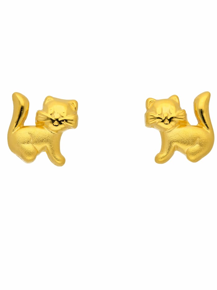 1001 Diamonds 1001 Diamonds Damen Goldschmuck 333 Gold Ohrringe / Ohrstecker Katze, gold