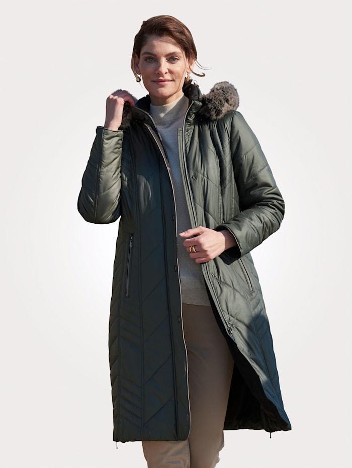 MONA Doorgestikte jas in extra lang model, Salie