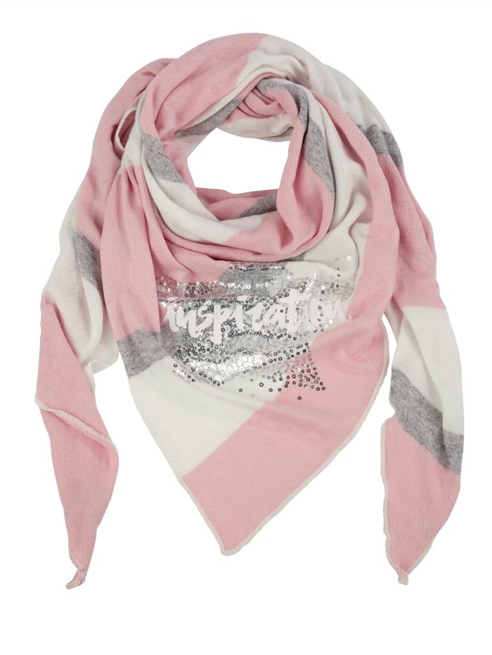 Angel of Style Dreieckstuch mit Motivdruck, rosé-grau