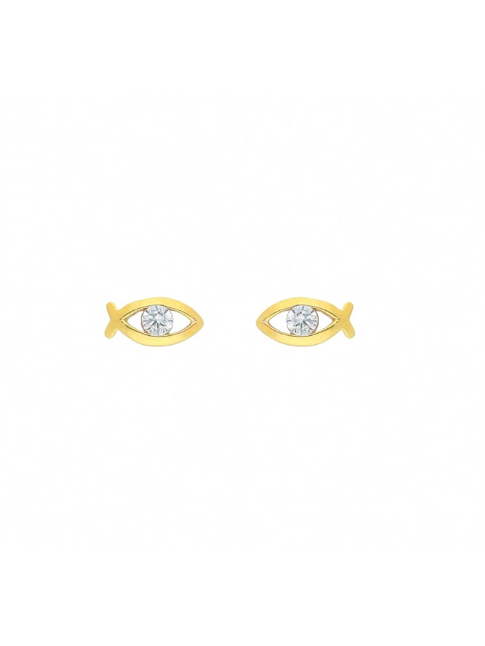 1001 Diamonds 1001 Diamonds Damen Goldschmuck 333 Gold Ohrringe / Ohrstecker Fisch mit Zirkonia, gold