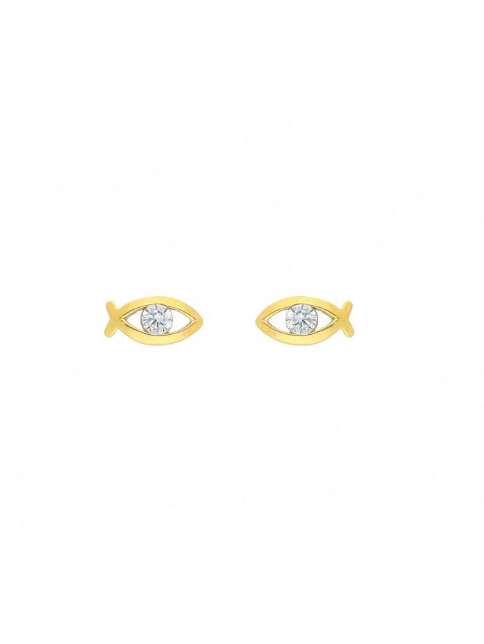 1001 Diamonds Damen Goldschmuck 333 Gold Ohrringe / Ohrstecker Fisch mit Zirkonia, gold