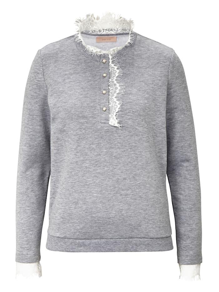 SIENNA Sweatshirt mit Spitze, Dunkelgrau