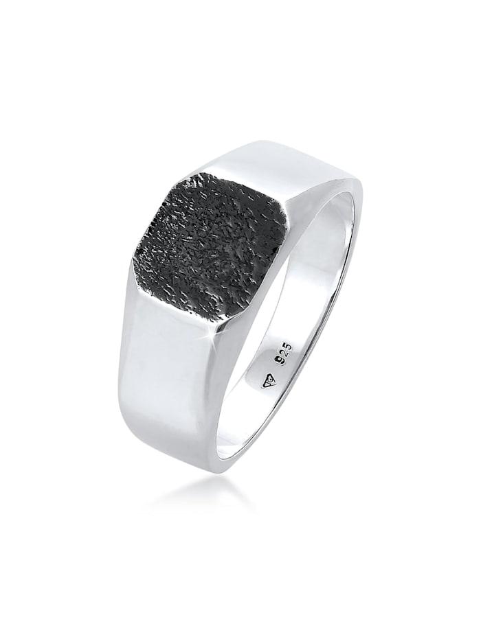 Kuzzoi Ring Basic Siegelring Herren Quadrat Matt 925 Silber, Silber