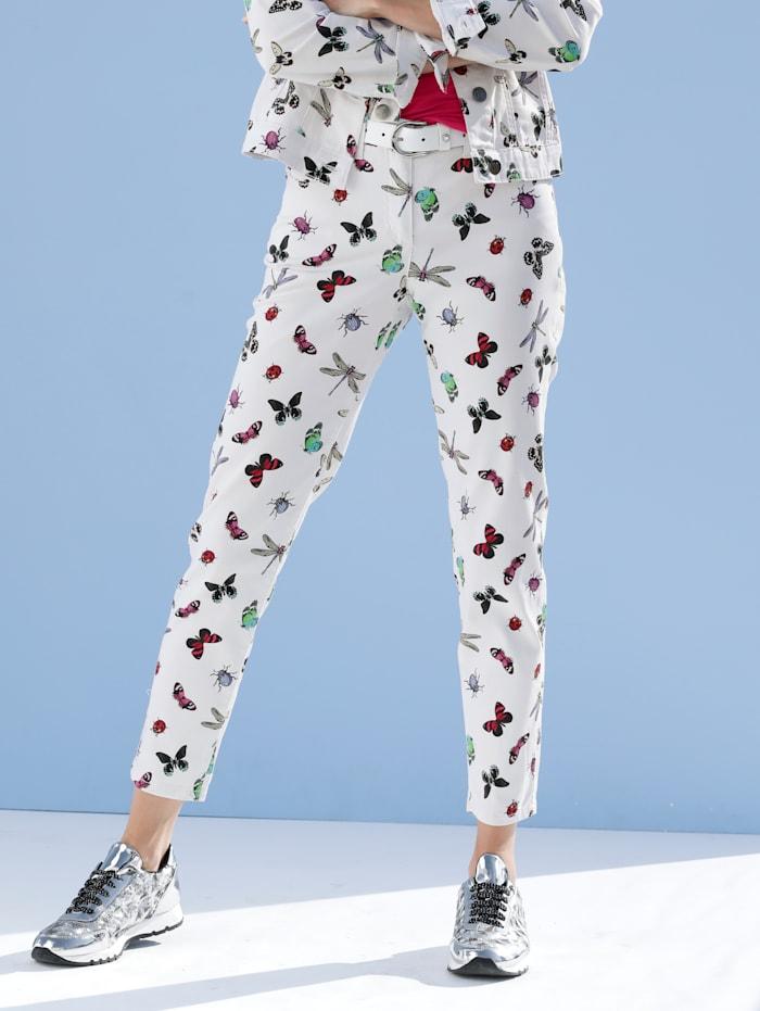 AMY VERMONT Jeans mit Schmetterlings-Druck, Weiß/Pink/Blau/Grün