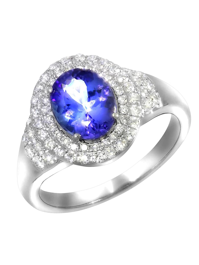 Creazione Bijoux Ring 750/- Gold Tansanit blau Tansanit Glänzend 2,15ct. 750/- Gold, weiß