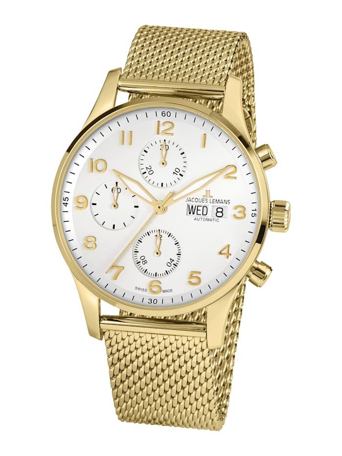 Jacques Lemans Herren-Uhr-Automatik-Chronograph Serie: London Automatic, Kollektion: Classic: 1- 1927F, Gelbgoldfarben