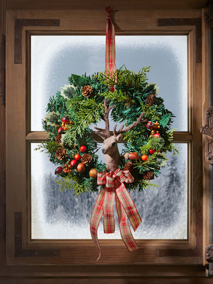 Tewa Couronne de porte ou murale avec tête de cerf, Vert/baies