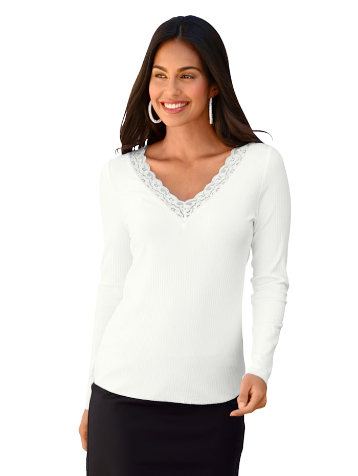 AMY VERMONT Shirt met kant, Offwhite