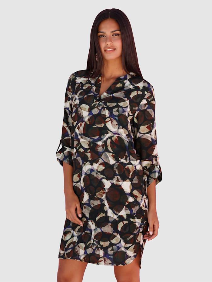 AMY VERMONT Kleid mit grafischem Muster, Braun/Lila/Beige