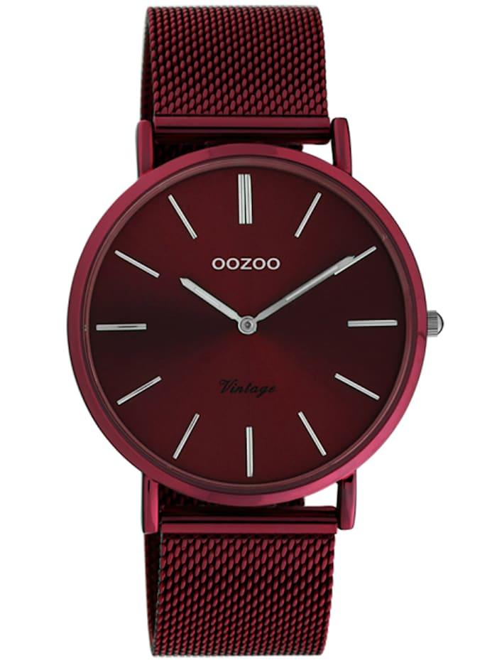 OOZOO Damenuhr Ultra Slim Burgunderrot 40 mm, Rot