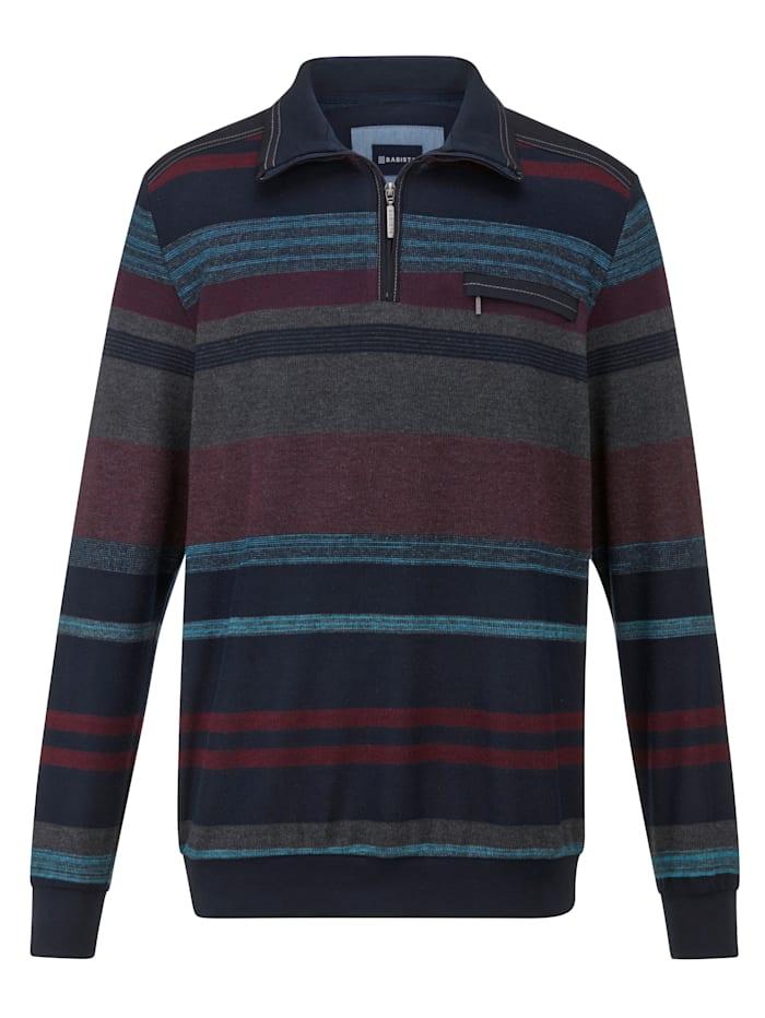 BABISTA Sweatshirt zo zacht als flanel, Marine/Bordeaux