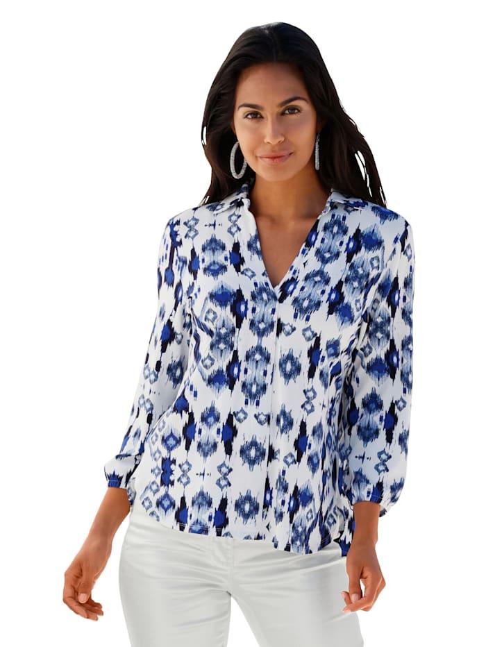 AMY VERMONT Shirt met grafisch patroon, Offwhite/Blauw