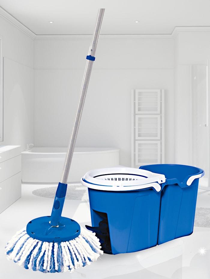 HSP Hanseshopping Clever Clean Bodenwischsystem mit antiviralem & antibakteriellem Mopp-Aufsatz 'ViralOff®', blau/weiß