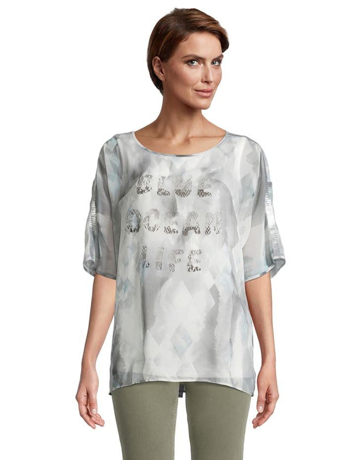 Betty Barclay Oversize-Bluse mit Muster Dekoelemente, Grau