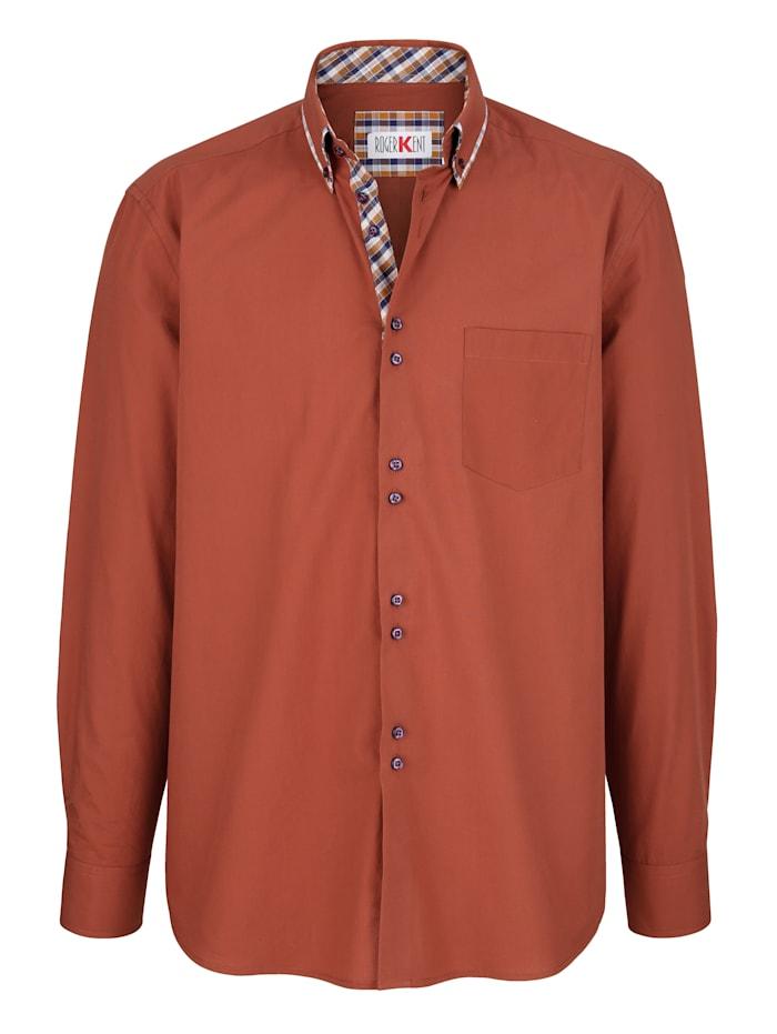 Roger Kent Bomullsskjorta med dubbelkrage, Terrakotta