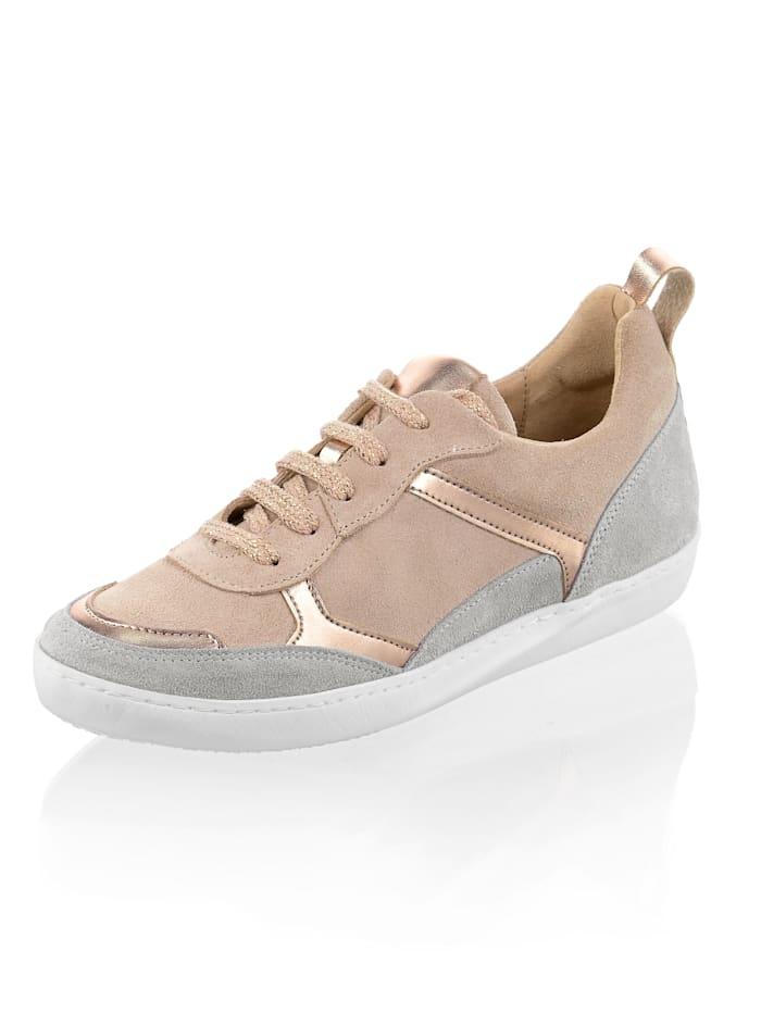 Alba Moda Sneaker mit metallischen Einsätzen, Nude/Grau