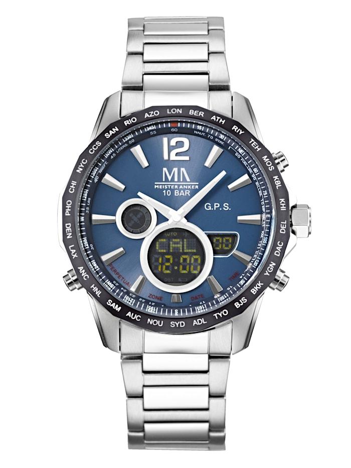 Meister Anker Herren-GPS-Funk-Uhr Chronograph, Silberfarben