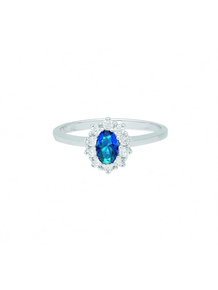 1001 Diamonds Damen Silberschmuck 925 Silber Ring mit Zirkonia, blau