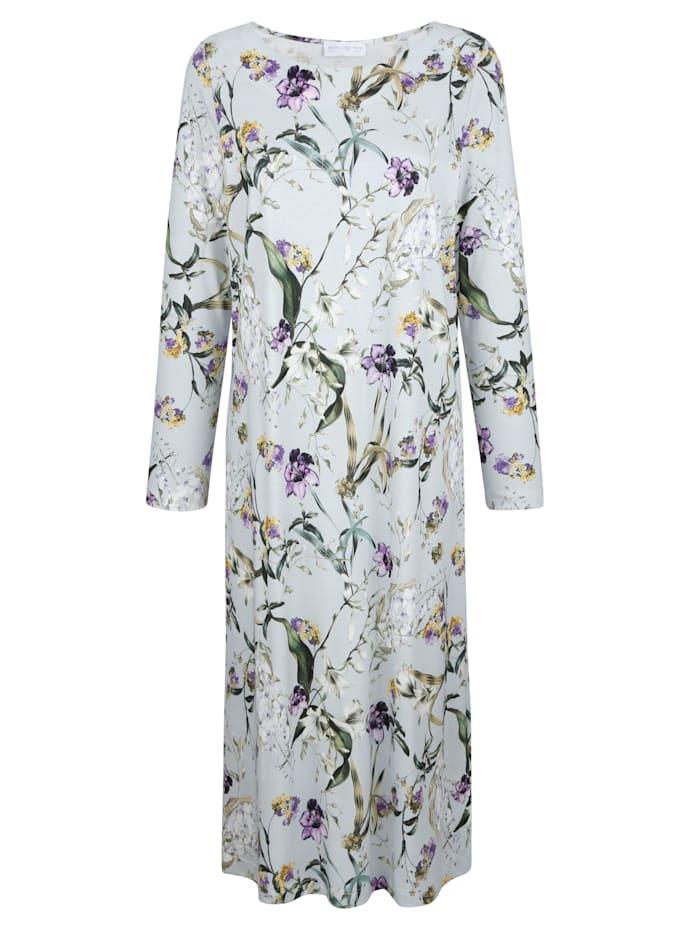 MONA Nachthemd met bloemendessin, Ijsblauw/Groen/Paars