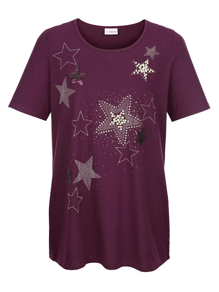 Shirt met kraaltjes bezette sterren