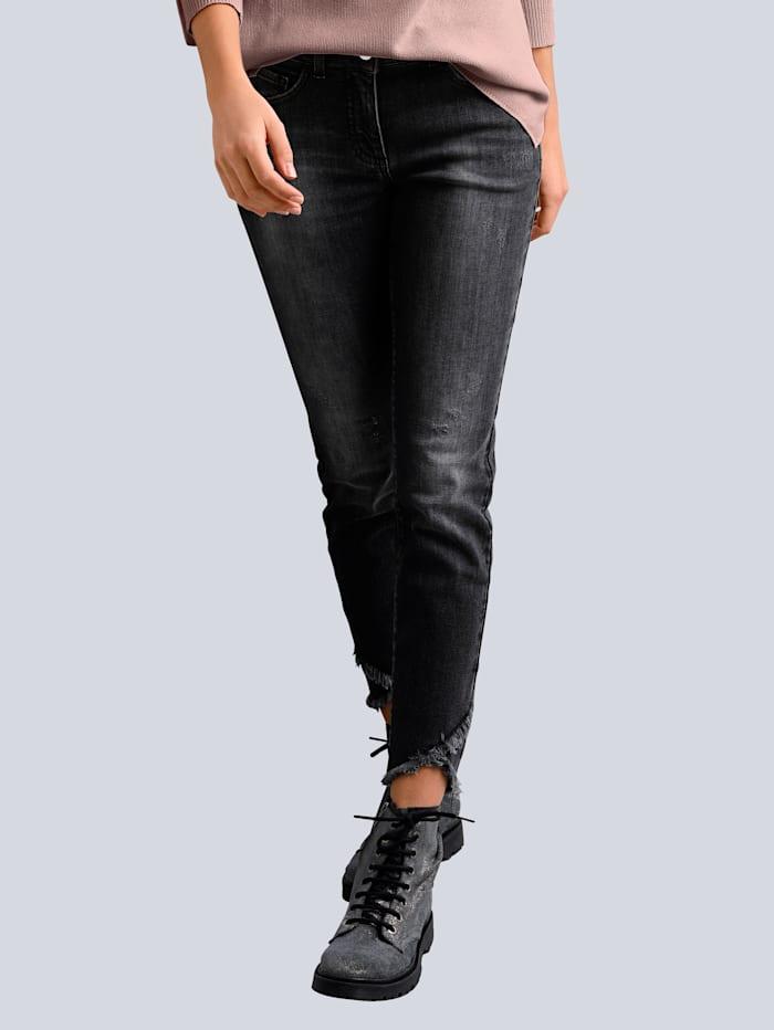 Alba Moda Jeans met rand van franjes aan de zoom, Grijs