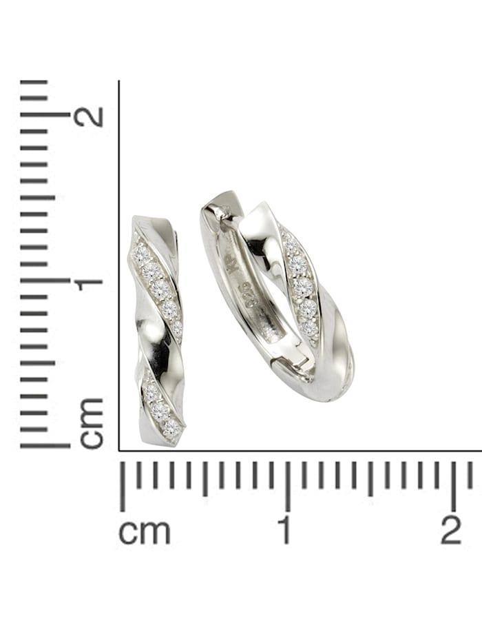 Creolen 925/- Sterling Silber Zirkonia weiß 1,5cm Glänzend 925/- Sterling Silber