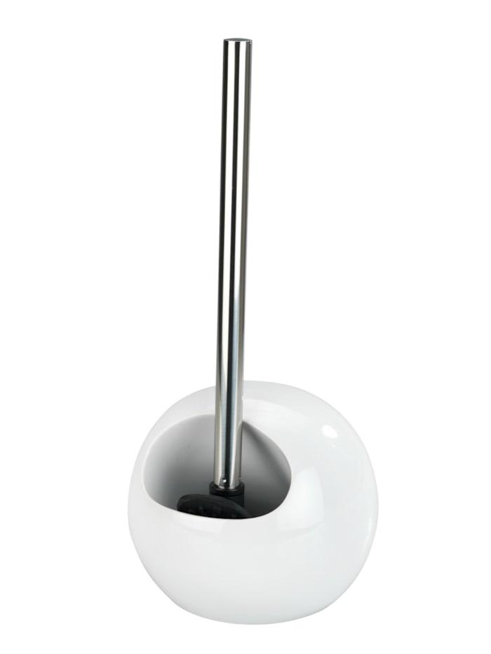Wenko WC-Garnitur Rimless Weiß Keramik, Silikonbürste, Weiß, Schwarz, Glänzend
