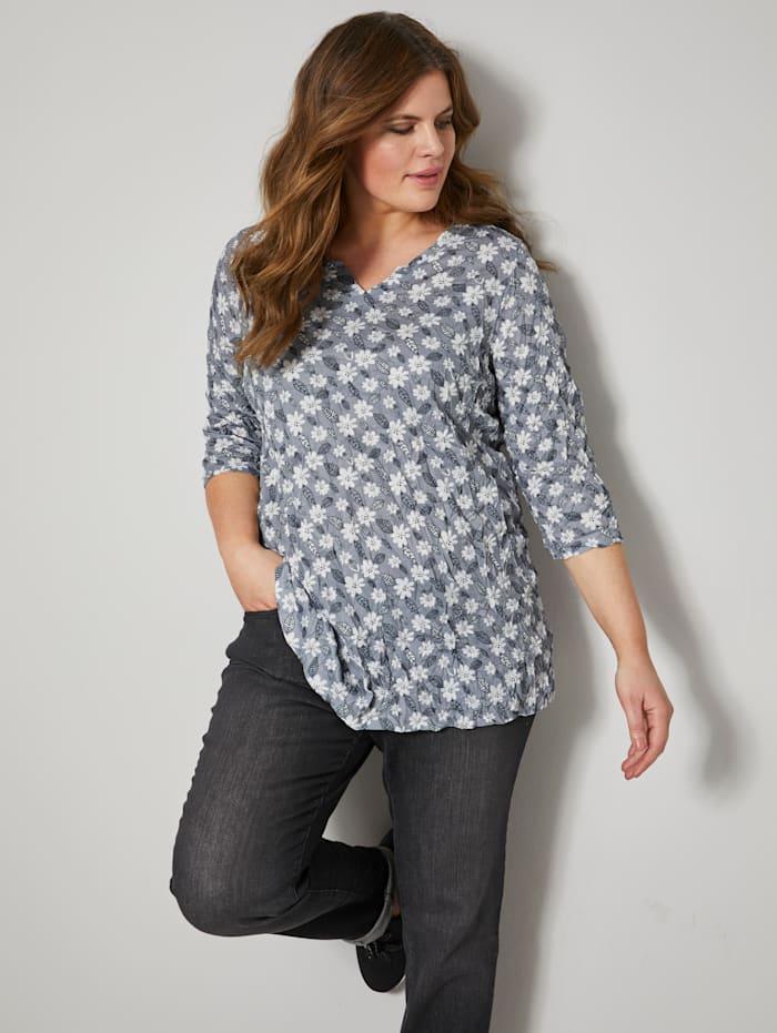 Janet & Joyce Shirt in Crinkle-Optik, schwarz-weiß-grau