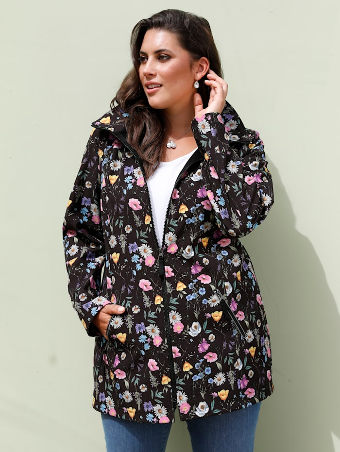 MIAMODA Veste softshell à capuche amovible, Noir