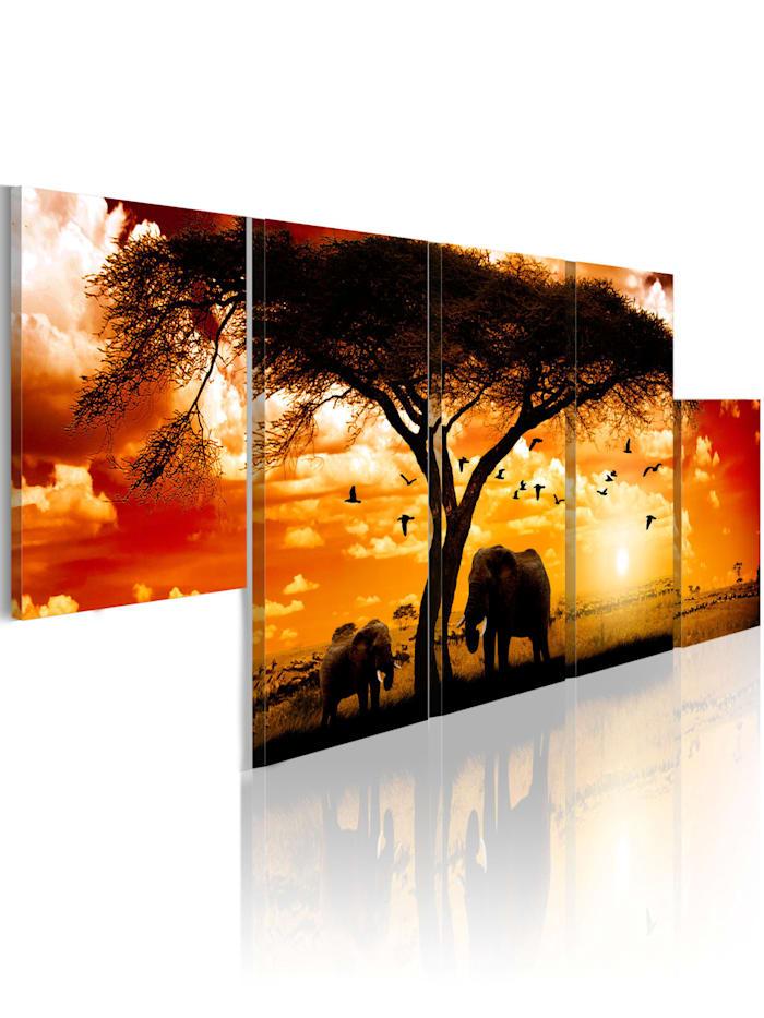 artgeist Wandbild Roter Sonnenuntergang, orange,black,red,white