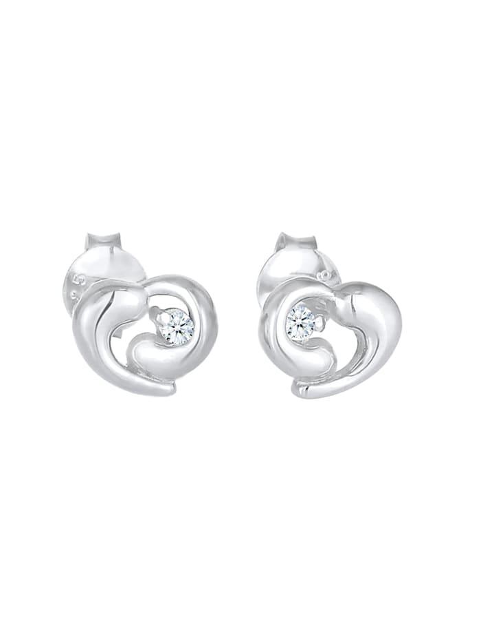 Ohrringe Stecker Herz Liebe Diamant (0.03Ct) 925 Silber