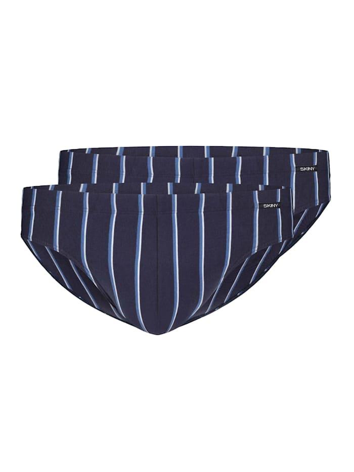 Skiny Slip, 2er-Pack STANDARD 100 by OEKO-TEX zertifiziert, Crown Blue Stripes