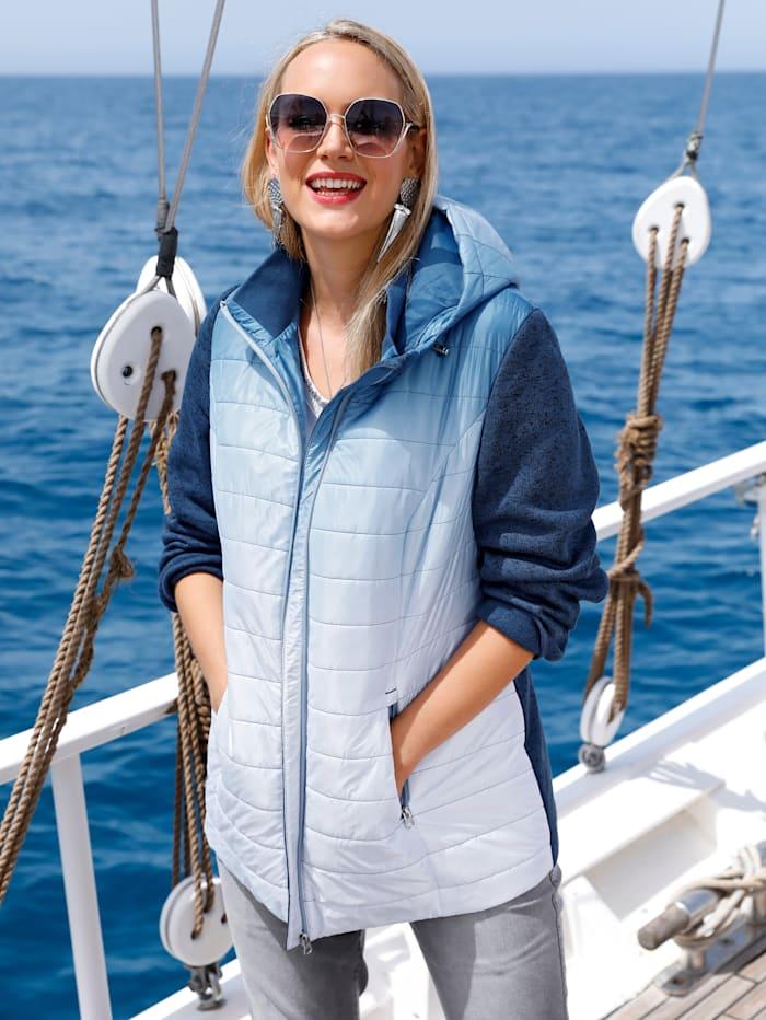 MIAMODA Jacke mit Ärmeln aus Strickfleece, Blau/Weiß