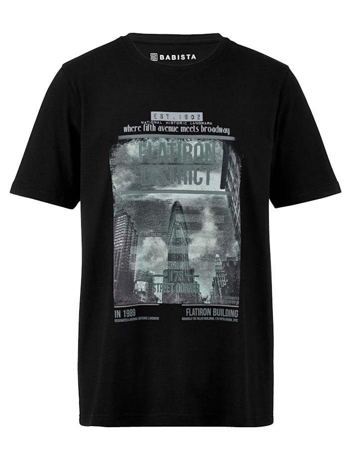 BABISTA T-skjorte med moteriktig trykk, Svart